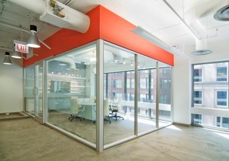 Farbman Group's spec office suites don't feature closed-off corner offices.