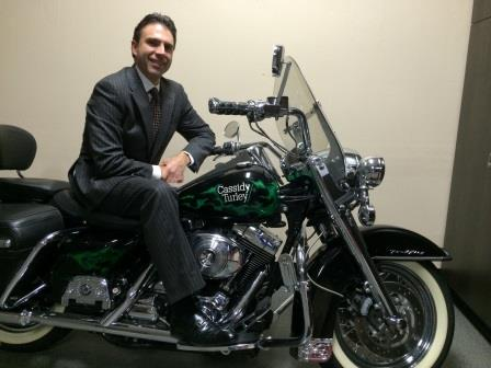 Jeffrey Bender and his Cassidy Turley-branded motorcycle