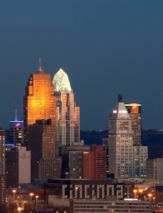 The Great American Tower in Cincinnati, one of the buildings that HOK's lighting group has illuminated.
