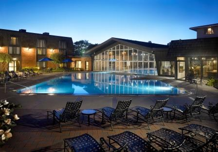 The indoor-outdoor pool at Pheasant Run is a highlight at the resort.