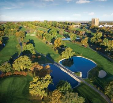 An aerial shot of the resort's 18-hole golf course.