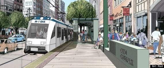 A rendering of the M-1 light-rail line in downtown Detroit.