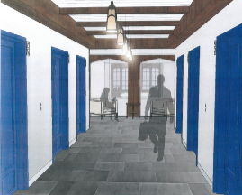 What the Tower Club hallway will look like in the future.