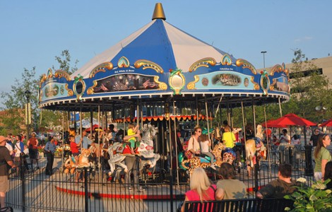 The carousel at Columbus Commons continues to attract crowds.