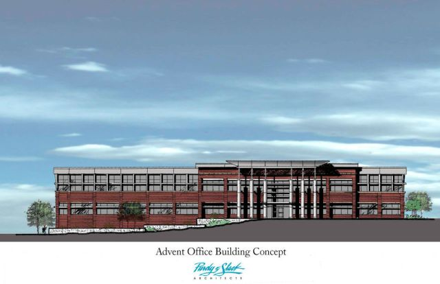 A rendering of the future Advent building in Omaha.