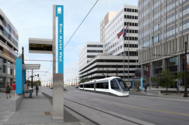 A rendering of the Kansas City Streetcar in action.