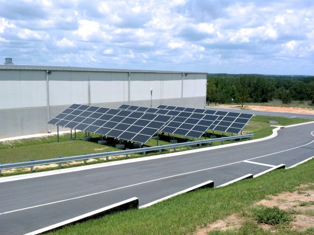The solar panels outside of Niagara Bottling's facility in Gahanna, Ohio.