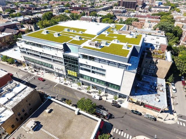 About half of all new construction nationwide is built to Leadership in Energy and Environmental Design (LEED) standards even in cases where owners don't pursue certification. This large retail project, built by Leopardo, includes a vegetated green roof.